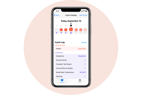 menstrual cycle tracker apple iphone