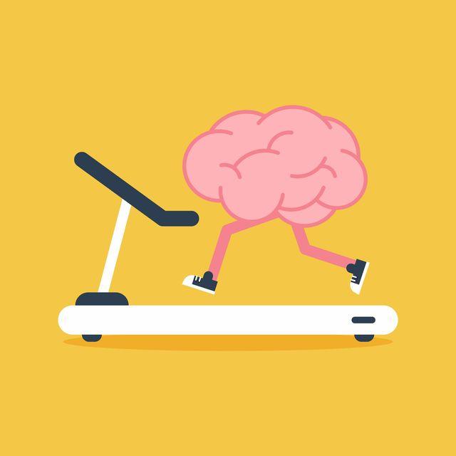 brain training with treadmill running flat design creative idea concept, vector illustration