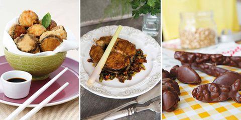 Menú con champiñones, merluza y bombones