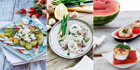 menú fresco ensalada, sepia y sandía