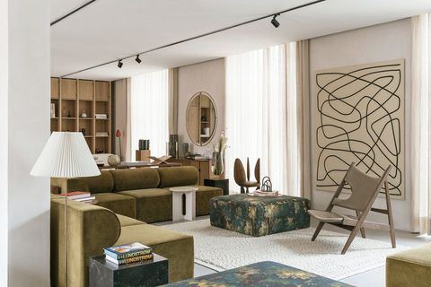 Living room, Room, Furniture, Interior design, Property, Wall, Building, Table, Door, Ceiling,