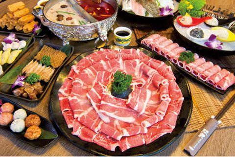 Dish, Food, Cuisine, Cold cut, Instant-boiled mutton, Shabu-shabu, Meat, Meal, Ingredient, Yakiniku,