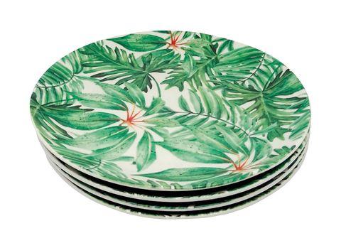 Platos de cerámica con estampados vegetales