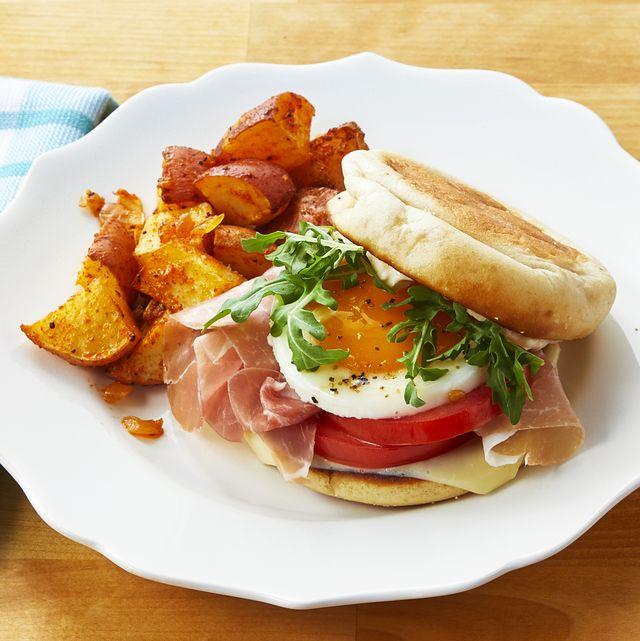 mercantile breakfast sandwich with potatoes