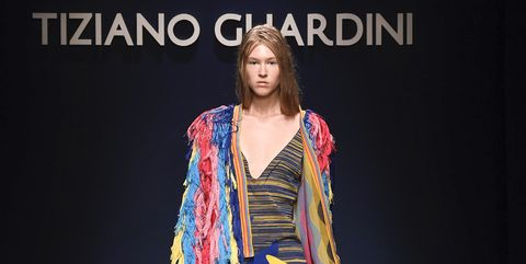 Runway, Fashion, Yellow, Fashion design, Fashion show, Fashion model, Footwear, Event, Dress, Talent show,
