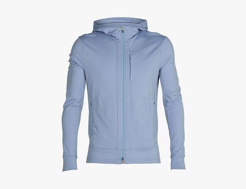 Long-sleeved zip-up hoodie in quantum merino wool iii