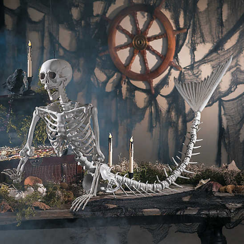 mermaid skeleton halloween decor