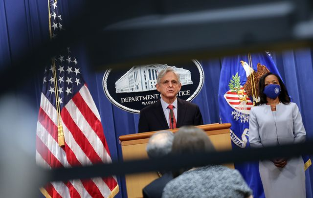 washington, dc   august 05 us attorney general merrick garland, joined by us assistant attorney general for the civil rights division kristen clarke, announces a federal investigation of the city of phoenix and the phoenix police department during a news conference at the department of justice on august 05, 2021 in washington, dc garland said the justice department has opened a pattern or practice investigation into the city of phoenix and the phoenix police department to determine if they have violated federal laws or citizens constitutional rights photo by kevin dietschgetty images