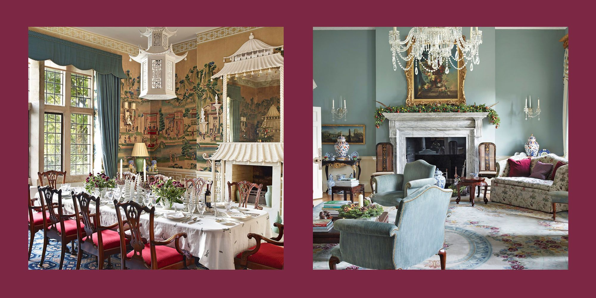 A Look Inside a Fully Bedecked Georgian Manor at Christmas