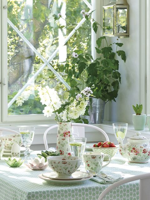 White, Green, Table, Room, Flower, Window, Plant, Branch, Furniture, Tableware,