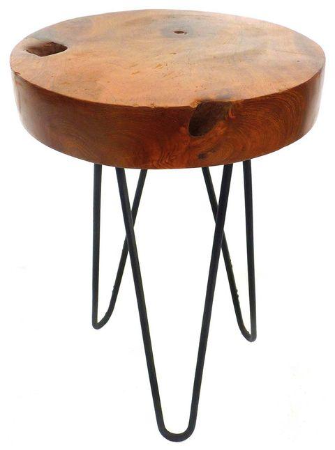 Mesa auxiliar de madera con patas de varillas