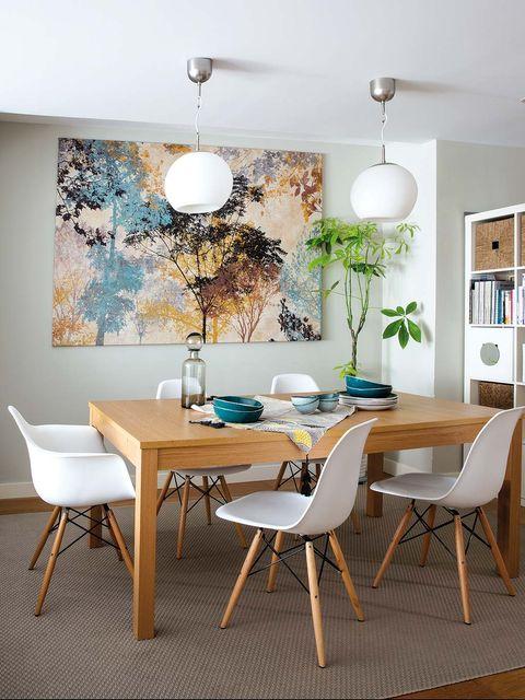 Room, Wood, Interior design, Green, Furniture, Floor, Table, Flooring, Light fixture, Wall,