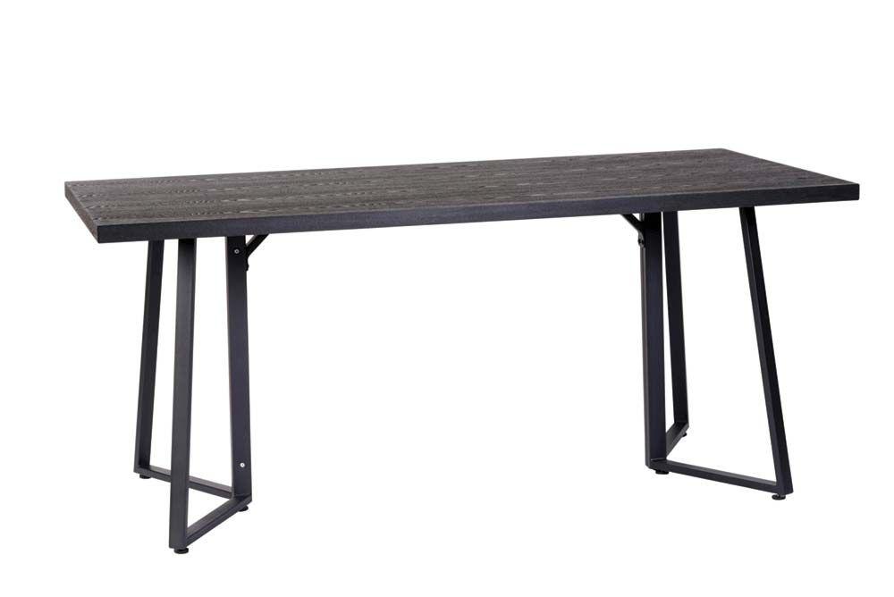 Mesa rectangular con patas metálicas y sobre de madera
