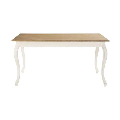mesa de comedor en color crema y madera