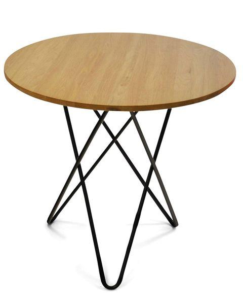 Mesa auxiliar redonda de madera con patas de varillas