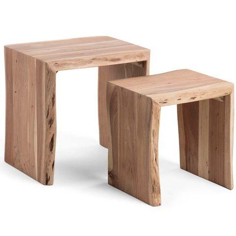Mesas nido auxiliares de madera