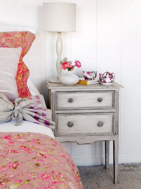 Bedroom, Furniture, Pink, Chest of drawers, Nightstand, Room, Bed, Drawer, Interior design, Bed sheet,