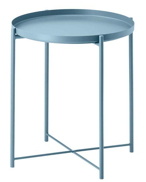 Mesa auxiliar redonda en azul empolvado
