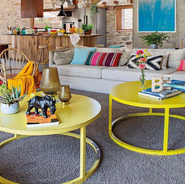 Mesas de centro redondas amarillas