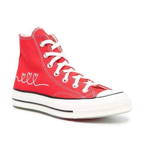 converse愛心高筒紅色帆布鞋