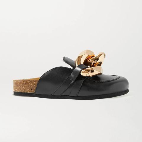 jw anderson 鏈條綴飾皮革拖鞋