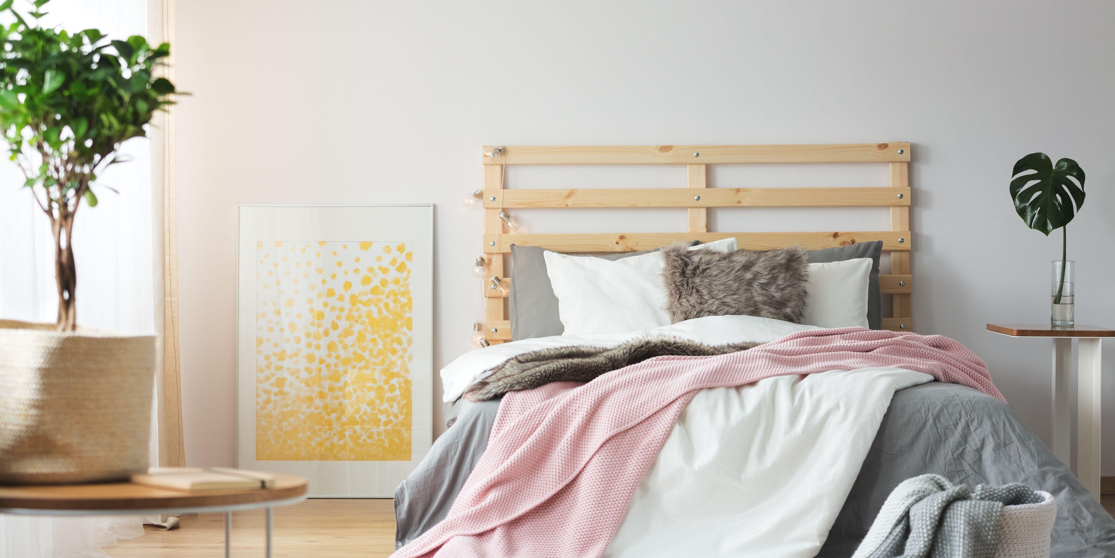 Messy bright bedroom