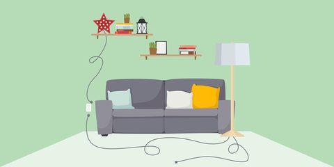 Furniture, Couch, Room, Interior design, Illustration, Line, Design, Table, Sofa bed, Living room,