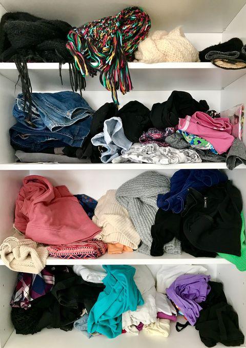Messy wardrobe shelves