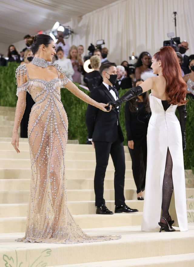 new york, new york   september 13 kendall jenner and gigi hadid attends the 2021 met gala celebrating in america a lexicon of fashion at metropolitan museum of art on september 13, 2021 in new york city photo by mike coppolagetty images