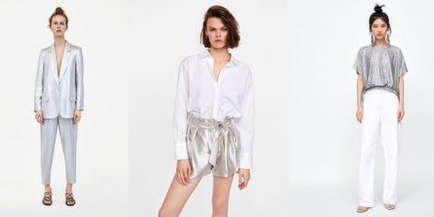 Clothing, White, Sleeve, Fashion, Fashion model, Outerwear, Shoulder, Neck, Leg, Fashion design,