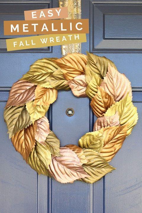 metallic fall leaf wreath