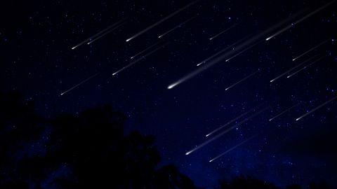 meteor shower in night sky illustration