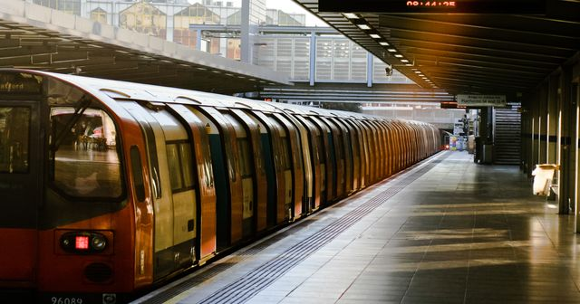 metro train at railroad station