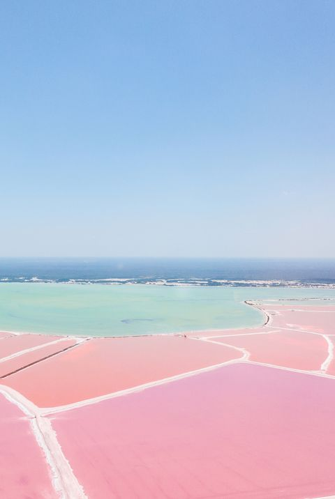 Mexiko, Yucatan, Las Coloradas, Pink Lake salt lake