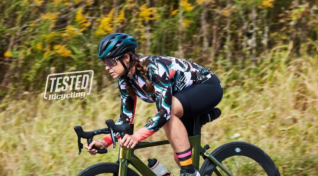 selene yeager cycling in center valley, pa in october 2020 wearing mff x roka sunglasses