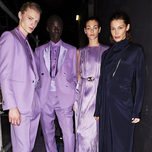 Fashion, Suit, Purple, Formal wear, Event, Fashion design, Haute couture, Pantsuit, Outerwear, Performance,