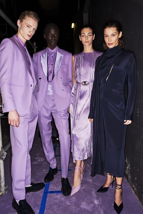 Fashion, Suit, Purple, Formal wear, Event, Fashion design, Haute couture, Pantsuit, Outerwear, Performance,