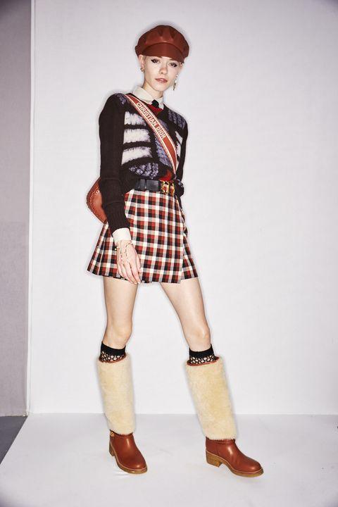 Clothing, Plaid, Fashion, Fashion model, Pattern, Footwear, Joint, Design, Leg, Fashion design,