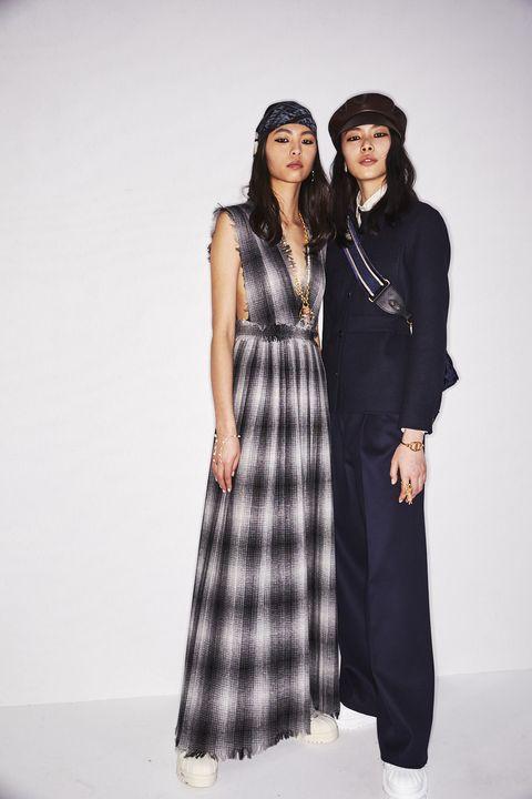 Fashion model, Clothing, Tartan, Fashion, Pattern, Plaid, Dress, Fashion design, Design, Outerwear,
