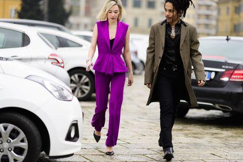 Street fashion, Fashion, Pink, Suit, Car, Vehicle, Outerwear, Footwear, Haute couture, City car,