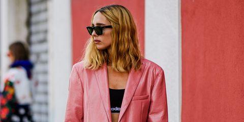 Clothing, Pink, Street fashion, Suit, Red, Fashion, Blazer, Outerwear, Pantsuit, Jacket,