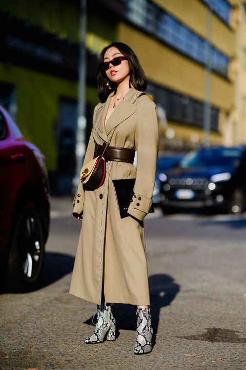 Clothing, Street fashion, Trench coat, Fashion, Coat, Outerwear, Footwear, Fashion model, Beige, Eyewear,