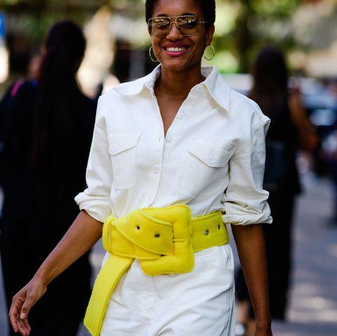 White, Street fashion, Yellow, Photograph, People, Fashion, Shoulder, Beauty, Snapshot, Street,