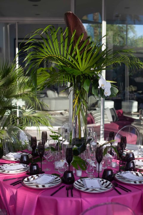 Centrepiece, Pink, Rehearsal dinner, Flower, Tablecloth, Plant, Tableware, Table, Function hall, Party,