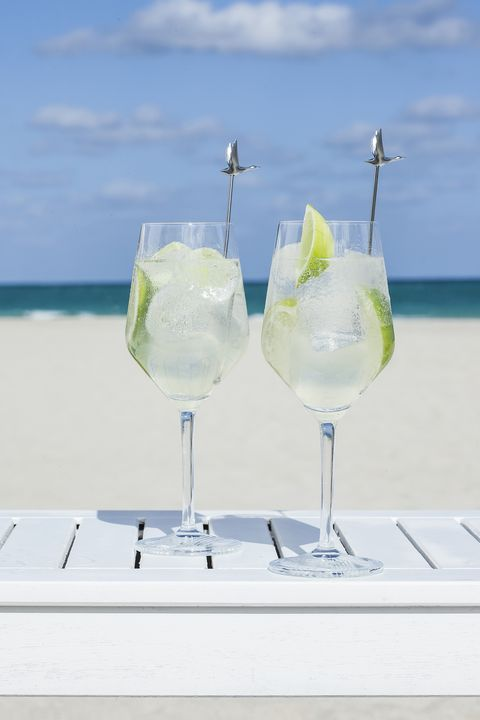 Drink, Cocktail, Gin and tonic, Margarita, Paloma, Non-alcoholic beverage, Distilled beverage, Glass, Mojito, Lime,