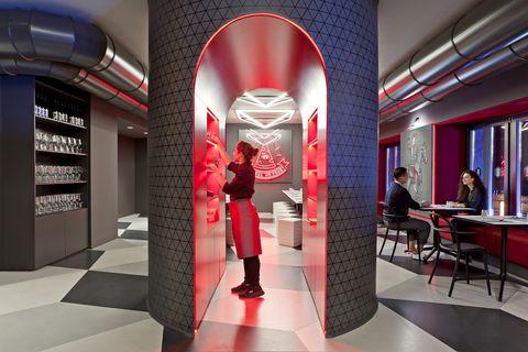 Red, Interior design, Architecture, Building, Design, Lobby, Room, Ceiling,