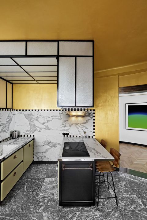 marble and gold kitchen