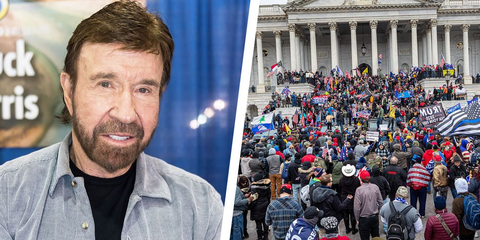Chuck Norris Says It's Not Him in Viral Lookalike Photo from U.S. Capitol Riot thumbnail