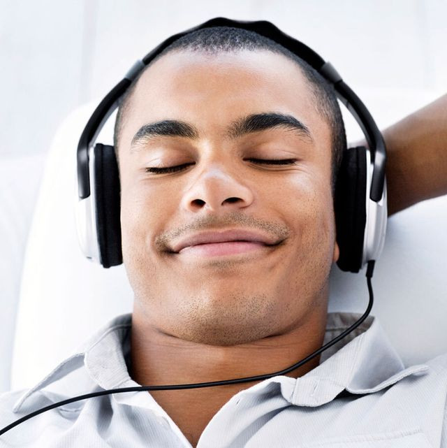 a diptych of a man with headphones on one side and a couple having sex on the other
