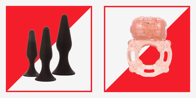 a diptych with a 3 piece butt plug set on one side and a vibrating cock ring on the other